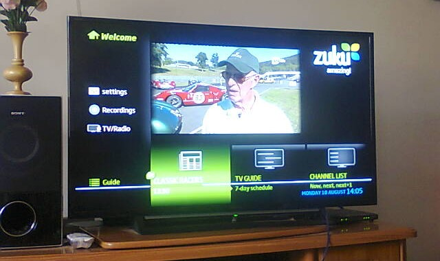 Zuku cable TV showing on a TV in Nairobi