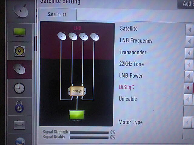 An LG Satellite TV showing the DiSEqC 1.0 functionality. It only allows a maximum of 4 satellite dishes