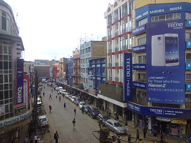 A view of Luthuli Avenue and Munyu Rd in Nairobi many shops here sell fake products