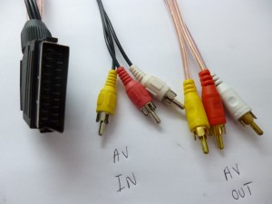 Modified Scart to RCA stereo cable for both the Right and Left channels