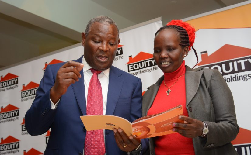 Equity Bank CEO and MD Dr. James Mwangi and Ms. Sally Chepkorir, a shareholder