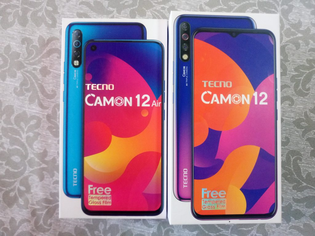 Tecno camon 12 Air packaging on the left and Tecno camon 12 packaging on the right
