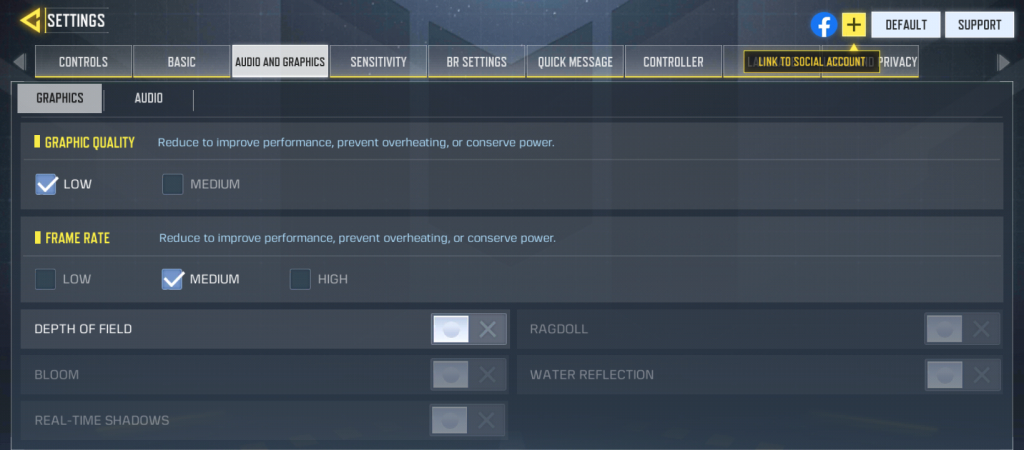 Infinix Hot 10 Call of Duty Graphic settings
