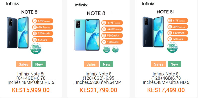 Infinix Note 8 Variations & Price In Kenya