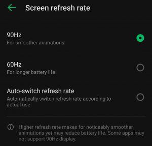Infinix Note 10 Pro Refresh rate settings